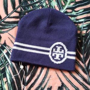 TORY BURCH Merino Wool Blend Beanie Hat NEW